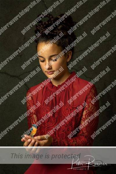 Eva met vogel, Fine Art Fotografie